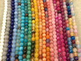 "6mm Faceted Mixed Fuchsia/Clear Agate Round/Ball Shaped Beads - 15.5"" Strand (Approximately 64 Beads) - Natural Semi-Precious Gemstone"