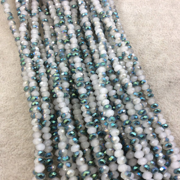 Chinese Crystal Beads | 4mm Aurora Borealis (AB) Finish Faceted Opaque White Peacock Rondelle Glass Beads