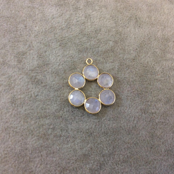26mm Gold Finish Faceted Natural Rainbow Moonstone 6 Petal (8mm) Flower Shaped Plated Copper Bezel Pendant - Sold Individually, Random