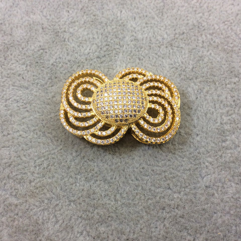 Gold Plated CZ Cubic Zirconia Inlaid Ornate Bow Shaped Copper Slider - Measures 25mm x 35mm, Approx.  - Sold Individually, RANDOM