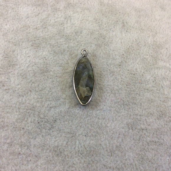Gunmetal Plated Faceted Natural Labradorite Marquise Shaped Bezel Pendant - Measuring 10mm x 25mm - Sold Individually, Chosen Randomly