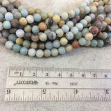 "6mm Natural Semi-Gloss Finish Mixed Amazonite Round/Ball Shaped Beads with 1.5mm Holes - 7.5"" Strand (Approx. 31 Beads) - LARGE HOLE BEADS"