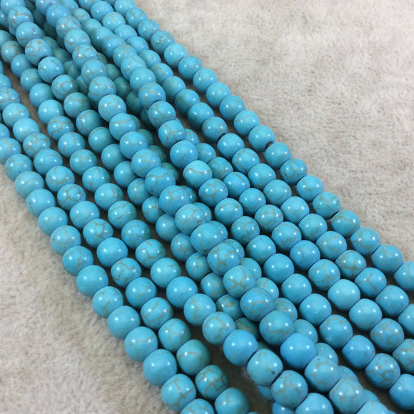 6mm  Dyed Turquoise Howlite Smooth Finish Round/Ball Shaped Beads with 1.5mm Holes - 7.5