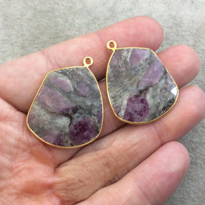 "One Pair of OOAK Gold Finish Faceted Ruby in Feldspar Freeform Shaped Bezel Pendants ""RP4""- Measuring 25mm x 29mm - Natural Gemstone"