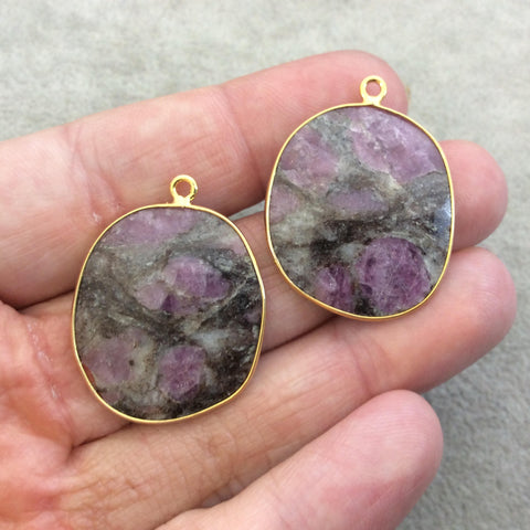 "One Pair of OOAK Gold Finish Faceted Ruby in Feldspar Freeform Shaped Bezel Pendants ""RP7""- Measuring 25mm x 29mm - Natural Gemstone"