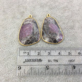 "One Pair of OOAK Gold Finish Faceted Ruby in Feldspar Freeform Shaped Bezel Pendants ""RP13""- Measuring 22mm x 31mm - Natural Gemstone"