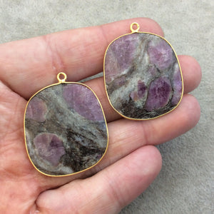 "One Pair of OOAK Gold Finish Faceted Ruby in Feldspar Freeform Shaped Bezel Pendants ""RP18""- Measuring 30mm x 33mm - Natural Gemstone"