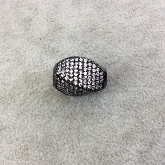 Gunmetal Plated CZ Cubic Zirconia Inlaid Twisted Barrel Bead  - Measures 13mmx20mm, Approx. - Sold Individually, RANDOM