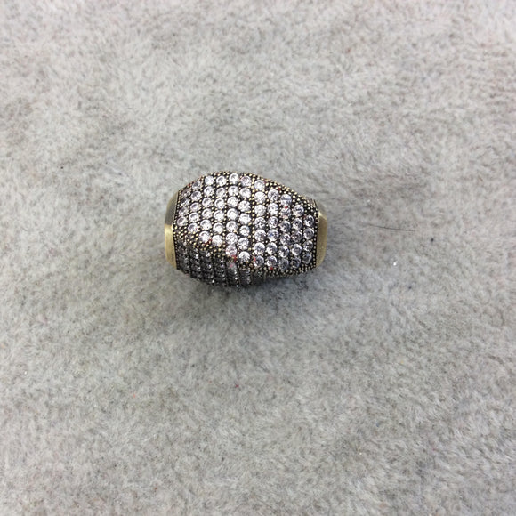 Bronze Plated CZ Cubic Zirconia Inlaid Twisted Barrel Bead  - Measures 13mmx20mm, Approx. - Sold Individually, RANDOM