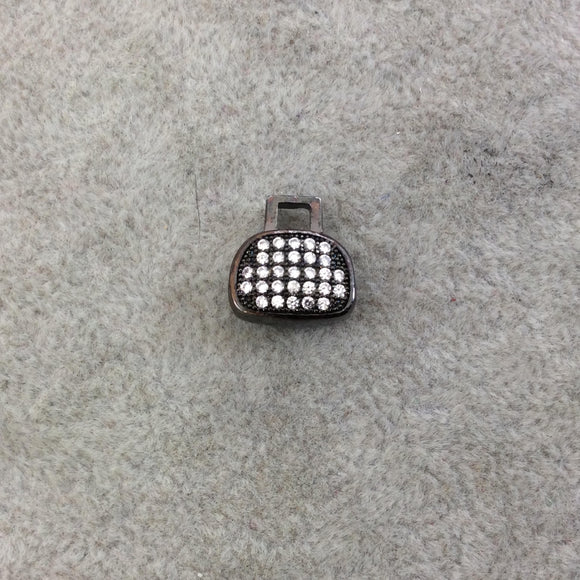 Gunmetal Plated CZ Cubic Zirconia Inlaid Purse Shaped Bead  - Measures 12mmx12mm, Approx. - Sold Individually, RANDOM