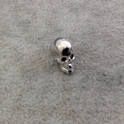 Silver Plated CZ Cubic Zirconia Inlaid Skull Shaped Bead Black Eyes - Measures 10mmx13mm, Approx. - Sold Individually, RANDOM
