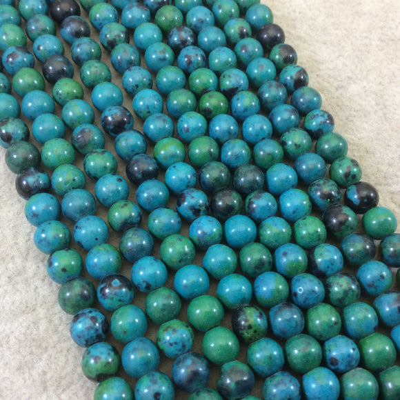 6mm Dyed Blue-Green Chrysocolla Smooth Glossy Round/Ball Shaped Beads with 1.5mm Holes - 7.5