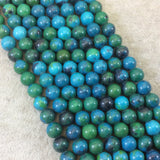 "8mm Dyed Blue-Green Chrysocolla Smooth Glossy Round/Ball Shaped Beads with 1.5mm Holes - 7.75"" Strand (Approx. 24 Beads) - LARGE HOLE BEADS"