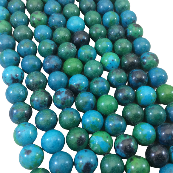10mm Dyed Blue-Green Chrysocolla Smooth Glossy Round/Ball Shaped Beads with 2mm Holes - 7.5