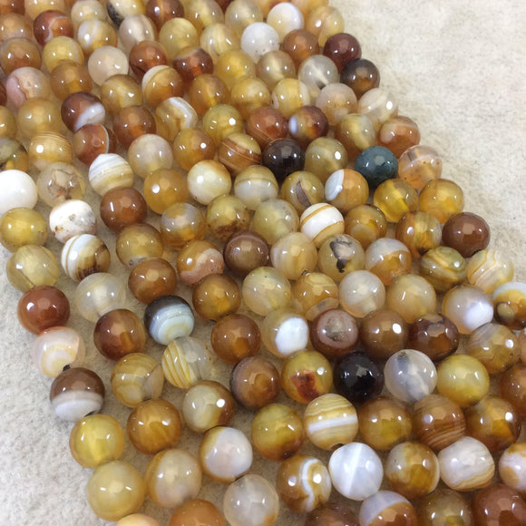 8mm Natural Mixed Yellow/Brown Agate Faceted Glossy Round/Ball Shape Beads W 1.5mm Holes - 7.5