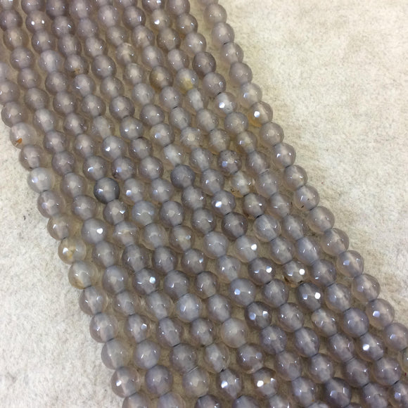 6mm Gray Agate Faceted Glossy Round/Ball Shaped Beads With 1.5mm Holes - 7.5