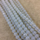"8mm Natural Milky White Opalite Faceted Glossy Round/Ball Shaped Beads With 1.5mm Holes - 7.5"" Strand (Approx. 27 Beads) - LARGE HOLE BEADS"