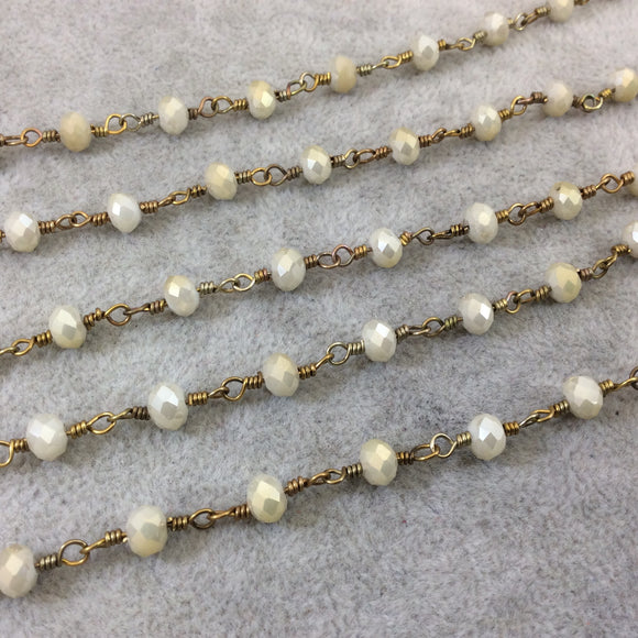 Brass Plated Copper Wrapped Rosary Chain with 6mm Faceted Opaque Ivory White Glass Crystal Rondelle Beads - Sold by the Foot (RC46-072-BR)