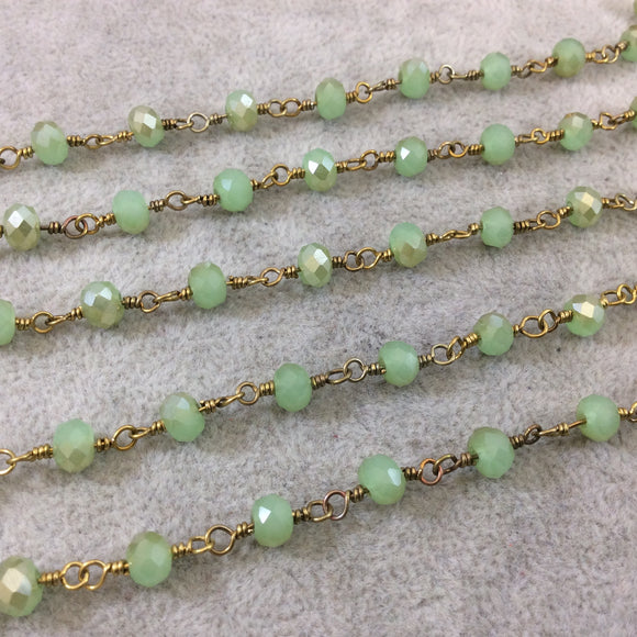 Gold Plated Copper Wrapped Rosary Chain with 6mm Faceted Opaque Pale Green Glass Crystal Rondelle Beads - Sold by the Foot (RC46-122-GD)