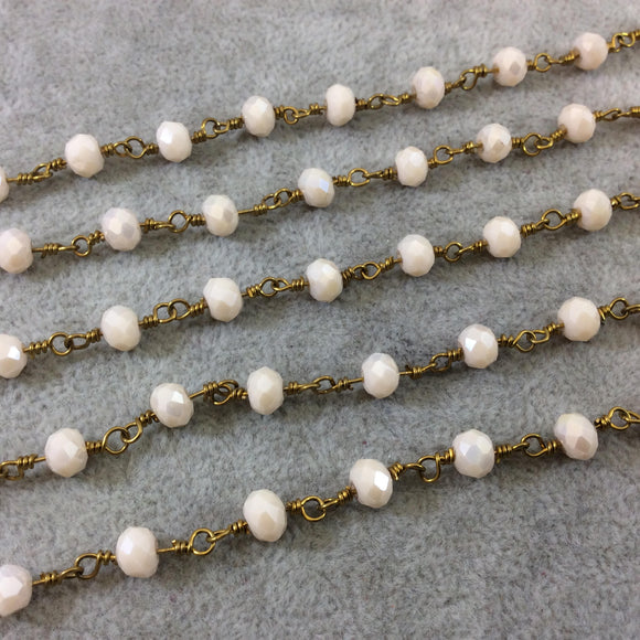 Dark Gold Plated Copper Wrapped Rosary Chain with 6mm Faceted Opaque AB Pale Peach Glass Crystal Rondelle Beads  By the Foot (RC46-066AB-DG)