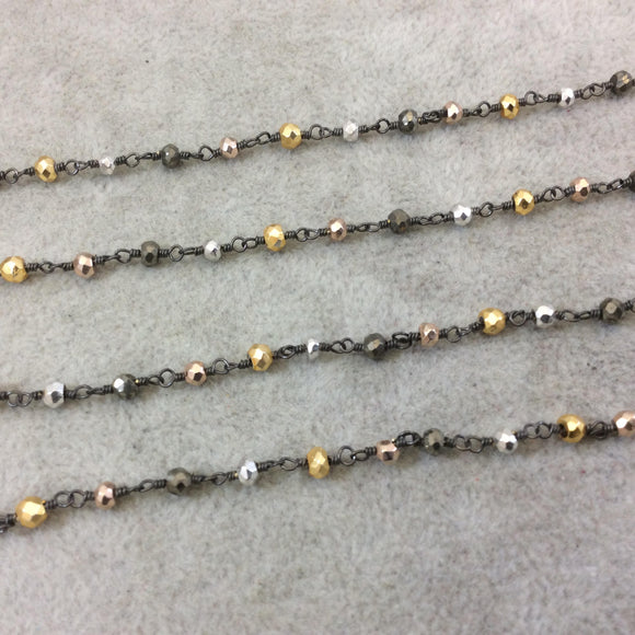 Gunmetal Plated Copper Wrapped Rosary Chain w/ 3-4mm Faceted Gold, Silver and Gray Met. Pyrite Rondelle Shape Beads - (CH176-GM)