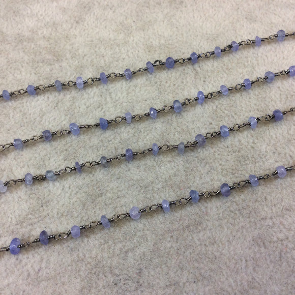 Gunmetal Plated Copper Rosary Chain with Faceted 3-4mm Rondelle Shaped Mystic Coated Medium Blue Moonstone Beads - Sold Per Ft - CH143-GM
