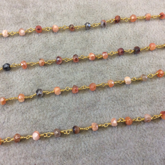 Gold Plated Copper Rosary Chain with Faceted 3-4mm Rondelle Shaped Mystic Coated Peach/Gray Carnelian Beads - Sold by the Foot (CH149-GD)
