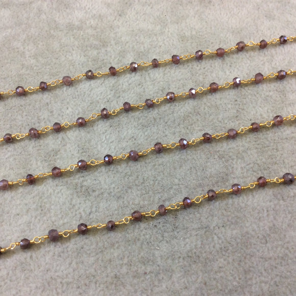 Gold Plated Copper Rosary Chain with Faceted 3-4mm Rondelle Shaped Mystic Coated Pink Red Garnet Beads - Sold Per Foot (CH150-GD)