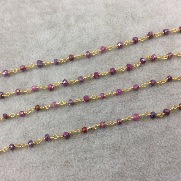 Gold Plated Copper Rosary Chain with Faceted 3-4mm Rondelle Shape Mystic Coated Magenta Quartz Beads - Sold by the Foot (CH153-GD)