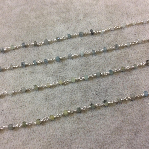 Silver Plated Copper Rosary Chain with Faceted 3-4mm Rondelle Shape Mystic Coated Gray Green Moss Aquamarine Beads - Sold Per Foot CH155-SV