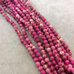 "6mm Smooth Natural Magenta/Beige Sea Sediment Jasper Round/Ball Shaped Beads - Sold by 15.5"" Strands (~ 65 Beads) - Semi-Precious Gemstone"
