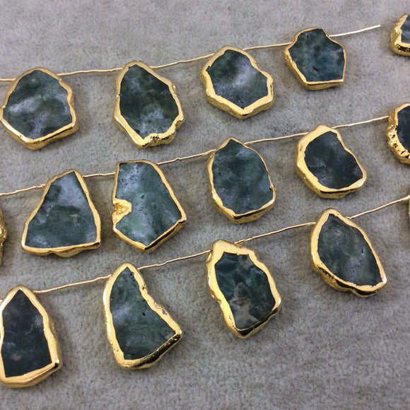 Gold Electroplated Smooth Freeform Slab Shaped Natural Moss Agate Top-Drilled Beads - 9.5