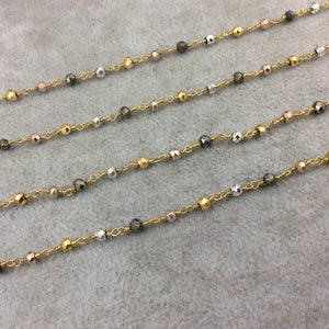 Gold Plated Copper Rosary Chain with Faceted 3-4mm Rondelle Shaped Gold, Gunmetal, Silver Pyrite Beads - Sold Per Ft - (CH176-GD)