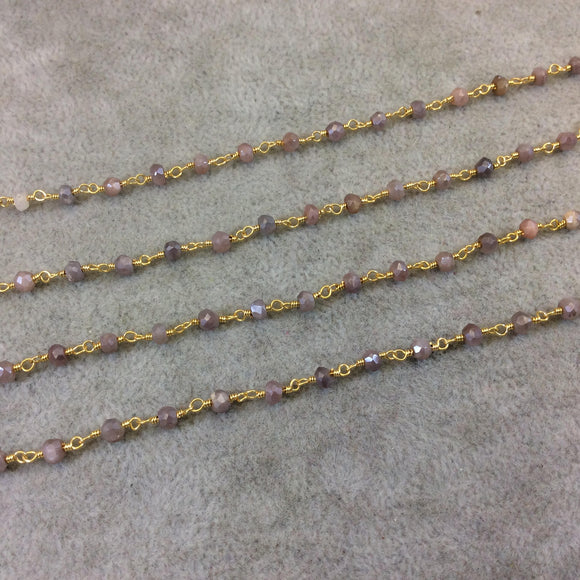 Gold Plated Copper Rosary Chain with Faceted 3-4mm Rondelle Shaped Mystic Coated Pink/Mauve Moonstone Beads - Sold Per Ft - CH144-GD