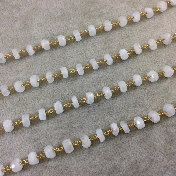Gold Plated Copper Rosary Chain with Faceted 6-7mm Rondelle Shape Moonstone Beads - Sold by the Foot (CH325-GD) Quality Gemstone!