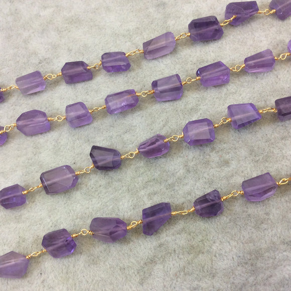 Gold Plated Copper Rosary Chain with Faceted 8-10mm x 10-12mm Nugget Shape Transparent Purple Amethyst Beads - Sold Per Ft - (CH433-GD)