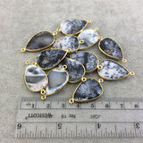 Gold Plated Natural Dendritic Opal Faceted Teardrop Shaped Copper Bezel Connector - 23mm-24mm Long, Approx. - Sold Individually, Random!