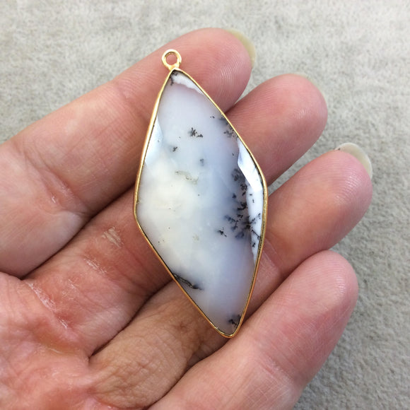 One OOAK Gold Plated Faceted Dendritic Opal Diamond Shaped Bezel Pendant - Measures ~ 25mmx50mm - Natural Gemstone