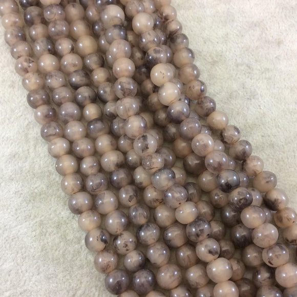 8mm Smokey Brown Lightweight Glossy Acrylic Smooth Finish Round/Rondelle Shaped Beads with 2.5mm Holes - 16