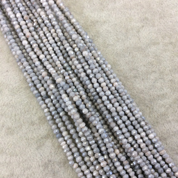 Holiday Special! 2-3mm x 2-3mm Faceted Mystic Gray Dyed Natural Quartz Rondelle Beads - 13
