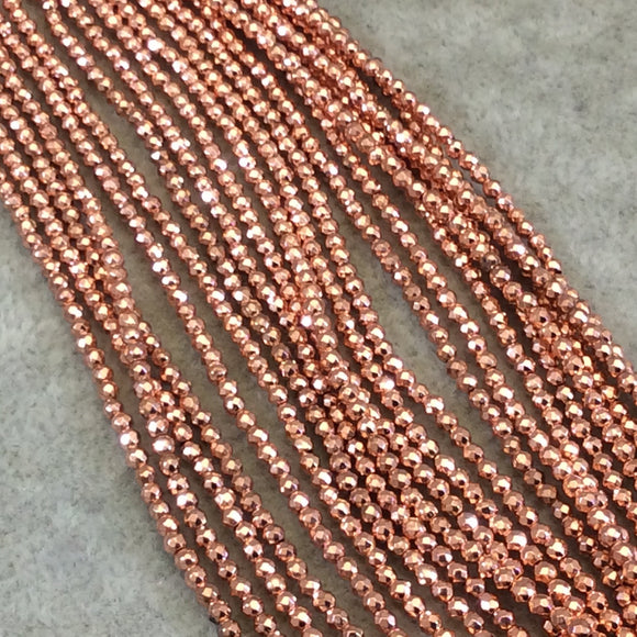 2mm Metallic Faceted Rose Gold Hematite Round Beads - 15