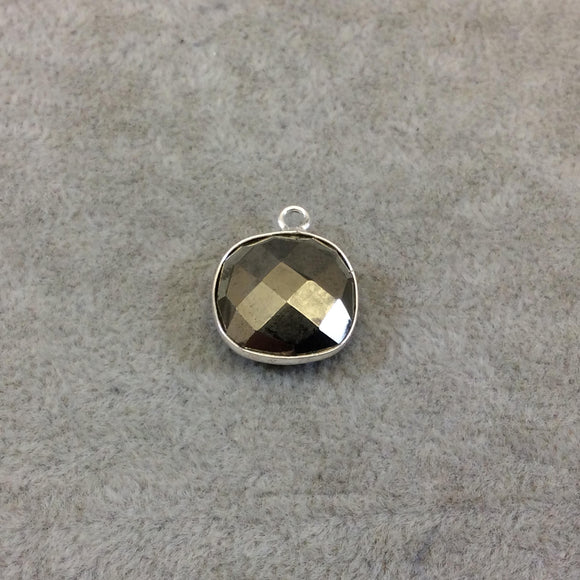 Sterling Silver Faceted Square Shaped Natural Pyrite Bezel Pendant Component - Measuring 14mmx14mm - Sold Individually, Random