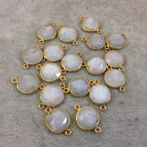 Jeweler's Lot OOAK Gold Plated Natural Moonstone Faceted Flat Back Round Assorted Copper Bezel Connectors