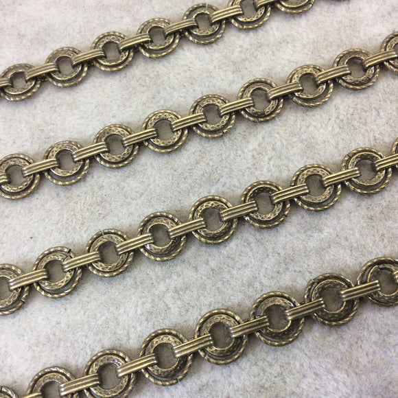 Brass Plated Brass Double Circle/Wreath Articulated Flat Chain - 9mm x 9mm Round Links With Flat Connectors - Sold By the Foot! (CH476-BR)