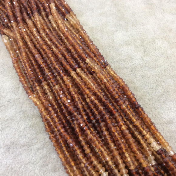 Holiday Special! 2-3mm x 2-3mm Faceted Natural Hessonite Garnet Rondelle Shaped Beads - 13
