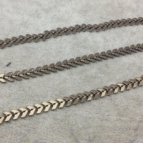 Gunmetal Plated Copper Chevron Cable/Link Chain - 6mmx5mm Chevron Links With Central Hole - Sold By the Foot, or In Bulk!   (CH475-GM)