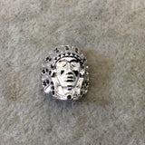 Silver Plated CZ Cubic Zirconia Inlaid Native American Head Shaped Bead Black CZ - Measures 13mm x 15mm, Approx. - Sold Individually, RANDOM