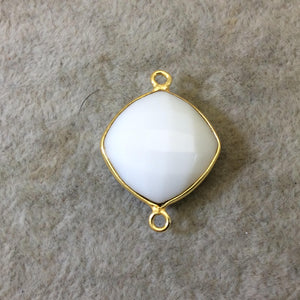 Gold Plated Faceted White Hydro (Lab Created) Chalcedony Diamond Shaped Bezel Connector - Measuring 18mm x 18mm - Sold Individually