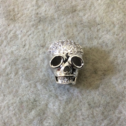 Silver Plated CZ Cubic Zirconia Inlaid Skull Mask/Ski Mask Shaped Bead With White CZ  -  ~ 9mm x 11mm,  - Sold Individually, Random