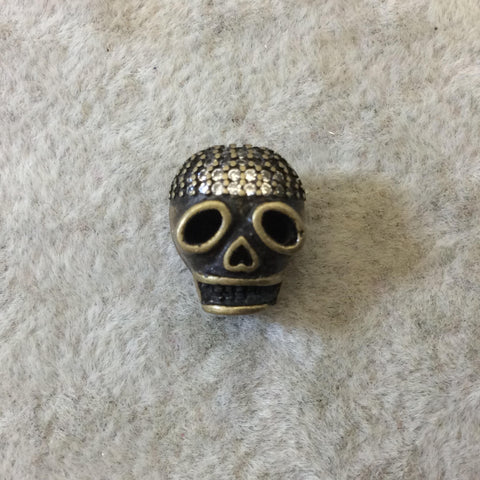 Bronze Plated CZ Cubic Zirconia Inlaid Skull Mask/Ski Mask Shaped Bead With White CZ  -  ~ 9mm x 11mm,  - Sold Individually, Random